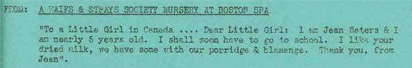 A letter from Jean Waters, at a Waifs and Strays Society Nursery at Boston Spa