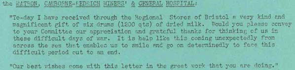Letter from the Matron at Camborne-Redrich Miners' and General Hospital