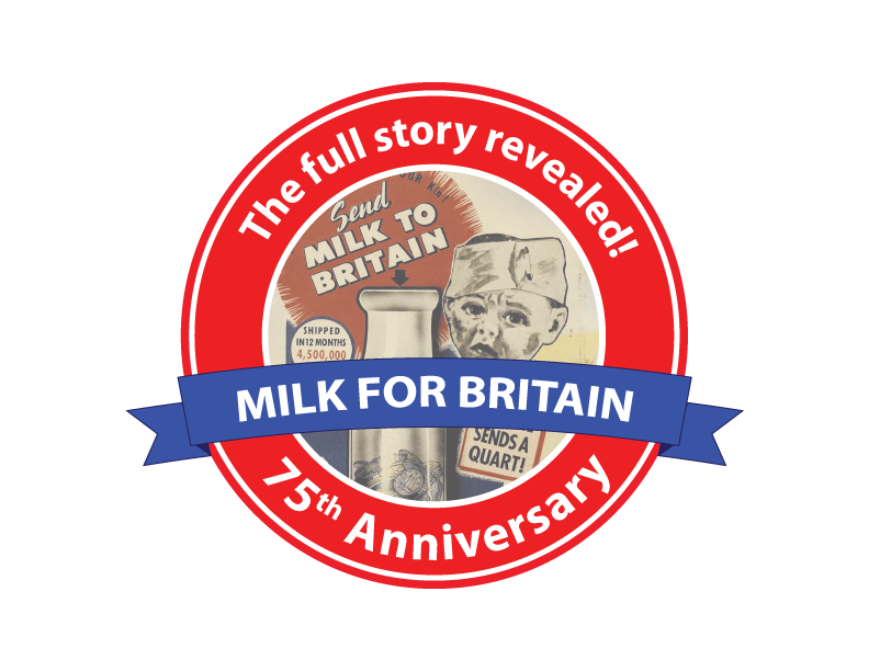 The logo for the 75th anniversary of the Milk for Britain campaign