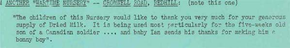 Letter from a worker at a wartime nursery, talking about the 5 week old son of a Canadian soldier