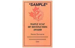 Maple Leaf Award of Distinction Plaque