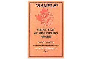 Maple Leaf Award of Distinction Plaque